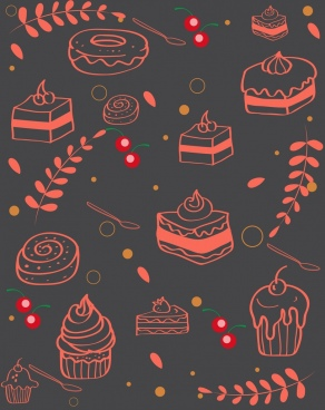 cakes background dark 3d handdrawn sketch