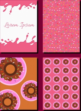 cakes design elements flat icons pink decor