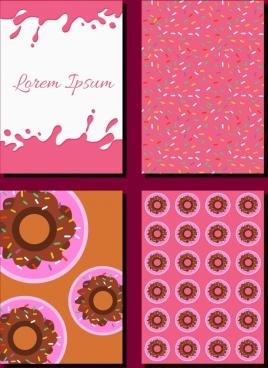 cakes design elements flat icons pink decor