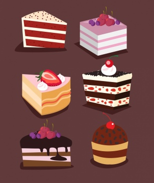 cakes icons collection 3d colored decor