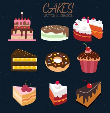 cakes icons collection colorful 3d design
