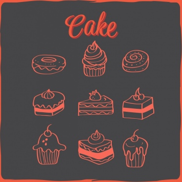 cakes icons collection dark handdrawn design
