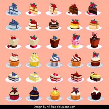 cakes icons collection modern colorful design 3d sketch