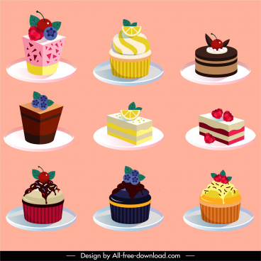 cakes icons colorful fruity decor 3d sketch