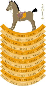 calendar14 horse design vector