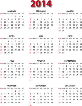 calendar14 modern design vector