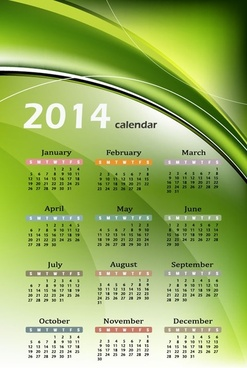 calendar14 with abstract green background vector graphic
