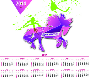 calendar14 with splash horse illustration vector