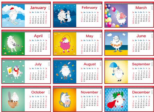 calendar15 and funny sheep vector graphics