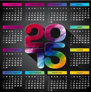calendar15 modern style vector set