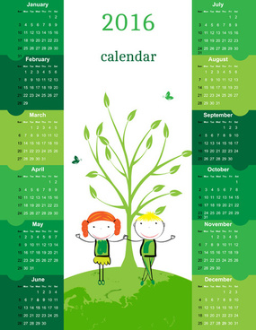 calendar16 kids cartoon object vector