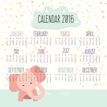calendar16 with cartoon elephant vector