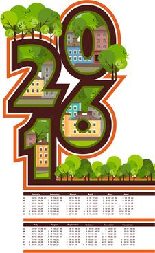 calendar16 with green city vector