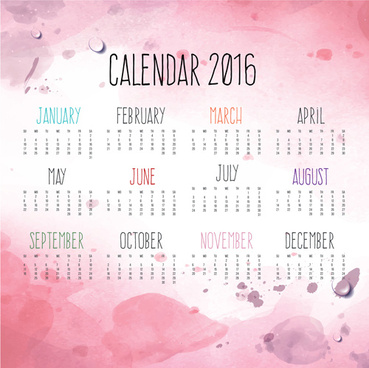 calendar16 with pink grunge background vector