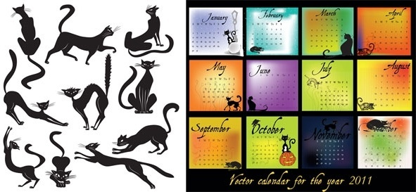 calendar 2011 black theme vector