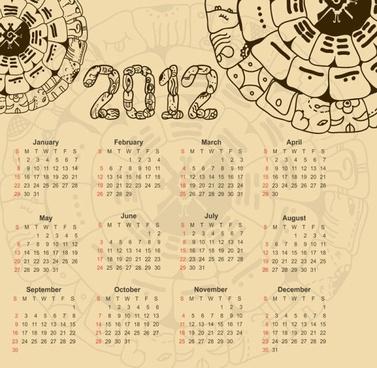 calendar 2012 illustrator 01 vector