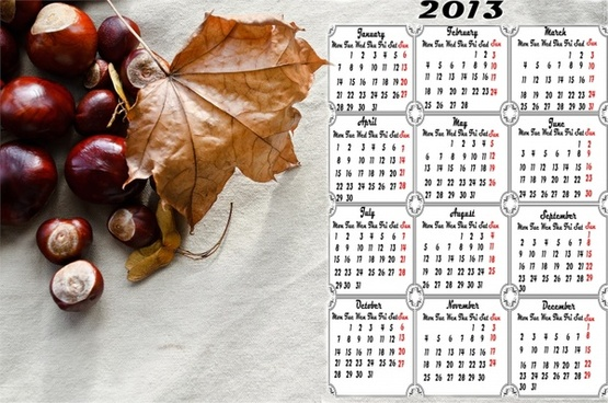 calendar 2013 chestnuts