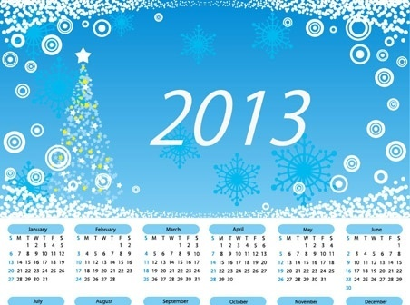 christmas calendar design blue backdrop xmas symbols decoration