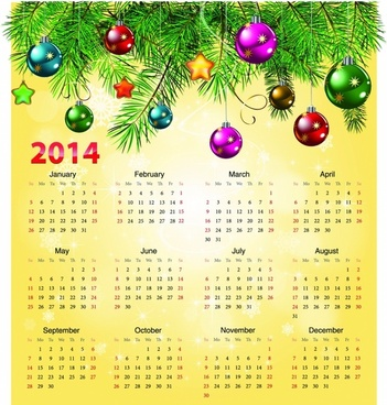 Calendar 2014 with christmas ball