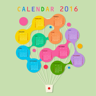 calendar 2016 template balloon