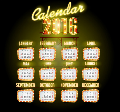 calendar 2016 template neon light