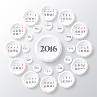 calendar 2016 template round button