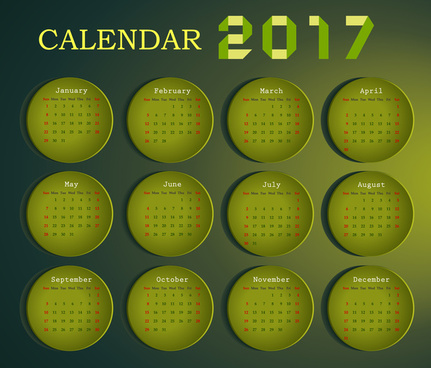calendar 2017 design with months on circles