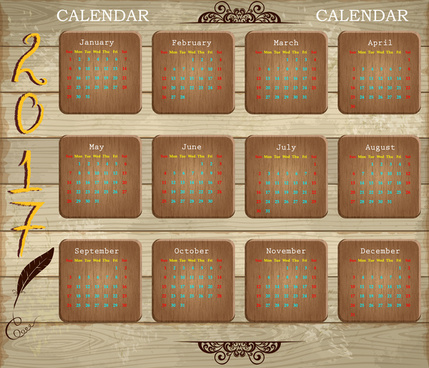 calendar 2017 design with wooden background