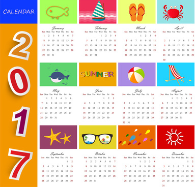 calendar 2017 templates beach time