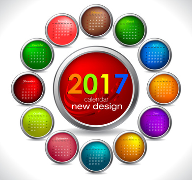 calendar 2017 templates circle button