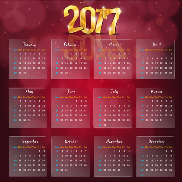 calendar 2017 templates golden 3d transparency