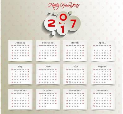 calendar 2017 templates paper stick note