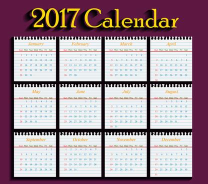 calendar 2017 templates school paper