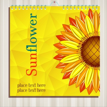 calendar cover template sunflower icon yellow decor