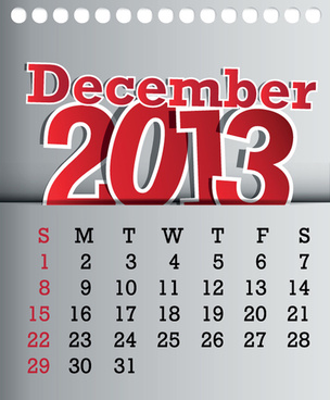 calendar december13 design vector graphic