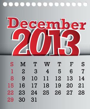 calendar december13 design vector graphic