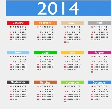 calendar design14 year vector graphic