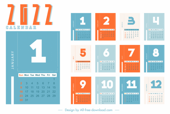 calendar design elements colored plain design number decor