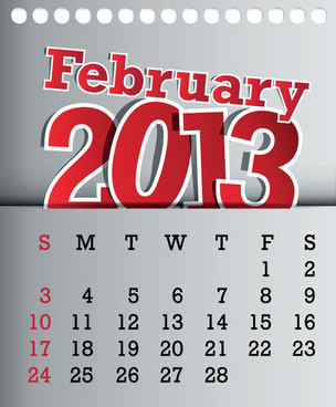 calendar february13 design vector graphic