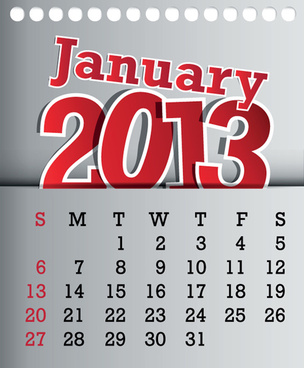 calendar january13 design vector graphic