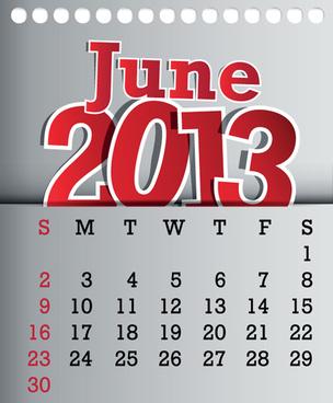 calendar june13 design vector graphic