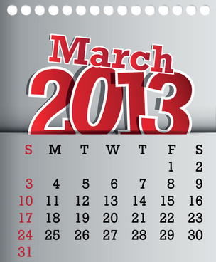 calendar march13 design vector graphic