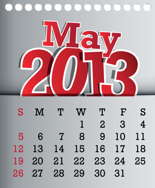calendar may13 design vector graphic
