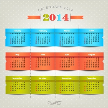 2014 calendar vector | free download | vector cdr image | 536×812.