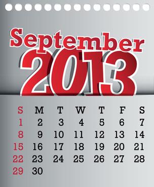 calendar september13 design vector graphic