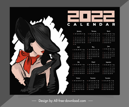calendar template elegant lady sketch dark handdrawn sketch