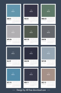 calendar template modern simple plain flat blank decor