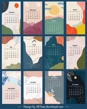 calendar templates nature elements decor retro colorful design