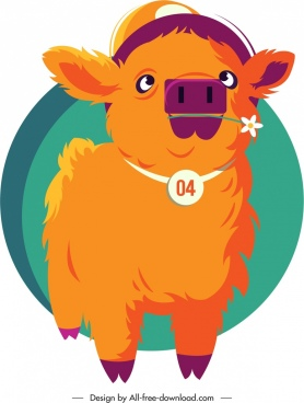 calf animal icon cute cartoon sketch