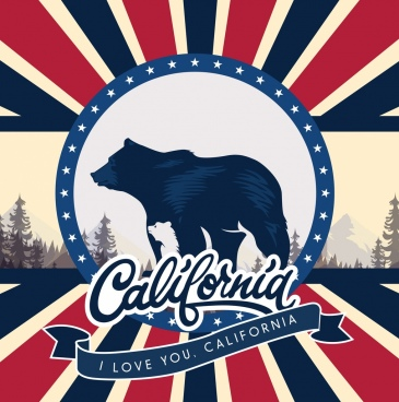 california advertising banner bear icon rays calligraphy decor
